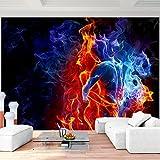 Fototapete Fire & Ice 308 x 220 cm - Vliestapete - Wandtapete - Vlies Phototapete - Wand - Wandbilder XXL - Runa Tapete
