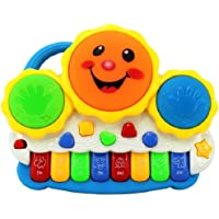 Toyshine Drum Keyboard Musical Toys with Flashing Lights, Animal Sounds and Songs, Multi Color