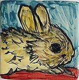 El conejo-Baldosa cerámica decorado a mano dimensiones cm 10x10x0,8 cm.Hecho en Italia Toscana, Lucca.certificada.Creado por Davide Pacini.