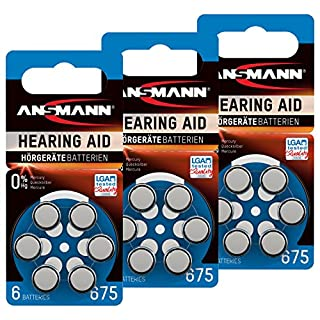 18 Ansmann 675 Zinc Air Hearing Aid Batteries 1.4 V/PR44 AZA675 Blue 5013253 Hearing Aid Button Cell Batteries – Extra Long Life