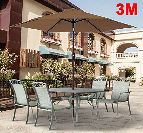 Greenbay 3M Round Garden Greenbay Parasol Umbrella Patio Outdoor Sun Shade Aluminium Crank Tilt Coffee 61fjGI 2BcKGL
