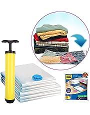 BigOwl Plastic Smart Saver Hand Vacuum Bags with Travel Pump 6 Variety Pack (3 X Jumbo, 3X Large, Blue)