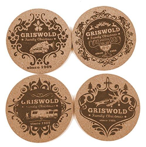 Schöne Bescherung Griswold Family Christmas Kork Untersetzer für Moose Mugs Elchgläser 4er Untersetzer Set 4 Kult Motive