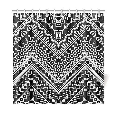 Presock Duschvorhänge, Home Decor Bath Curtain Stylized Chevron Aztec Ethnic Polyester Fabric Waterproof Shower Curtain for Bathroom, 60 X 72 Inch Shower Curtains Hooks Included