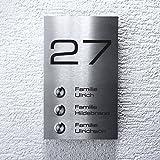 Metzler-Trade Mehrfamilien Funkklingel aus Edelstahl - hohe Reichweite - komplett montagefertig - Aufputz-Montage - Witterungsbeständig und zuverlässig – Gravur von Name & Hausnummer - Größe: 120 x 200 mm