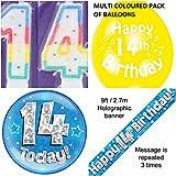 Partyset zum 14. Geburtstag für Jungen Satz für 14-jährige Jungen (Banner, Luftballons, Kerze, Abzeichen).