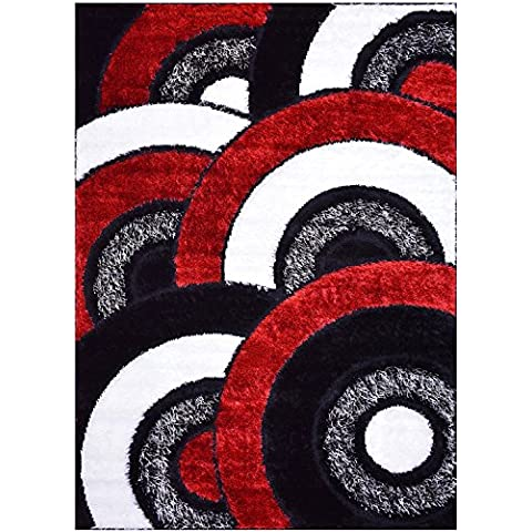 Royal Collection Alfombra de área Color Rojo, Blanco y Negro, diseño abstracto moderno y de diseño Shaggy (6053)