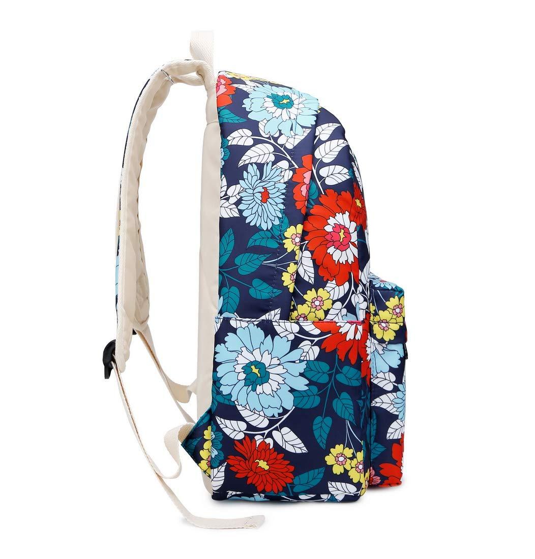 61fjTb%2BOMYL - Joymoze Mochila Escolar para Niña Adolescente con Bolsa Térmica para el Almuerzo y Estuche Flor Azul