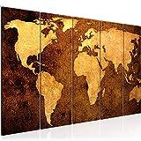 Bilder Weltkarte World Map Wandbild 200 x 80 cm Vlies - Leinwand Bild XXL Format Wandbilder Wohnzimmer Wohnung Deko Kunstdrucke Braun 5 Teilig - MADE IN GERMANY - Fertig zum Aufhängen 101755a