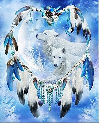 YEESAM Art nouveau 5d Diamant Peinture kit–Snoe Loups Attrape-rêves–DIY Cristaux Diamant De Strass Peinture Collez-le Peinture par numéro Kits point de croix à broder
