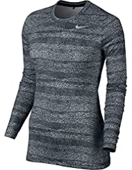 Nike Uv Crew Baselayer Camiseta de Manga Larga de Golf, Mujer, Negro (Black / White / Metallic Silver), M