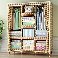 LILYJ-Shoe Cabinet Madera maciza simple tejido conjunto plegable Armario de almacenamiento de 130x45x170cm C
