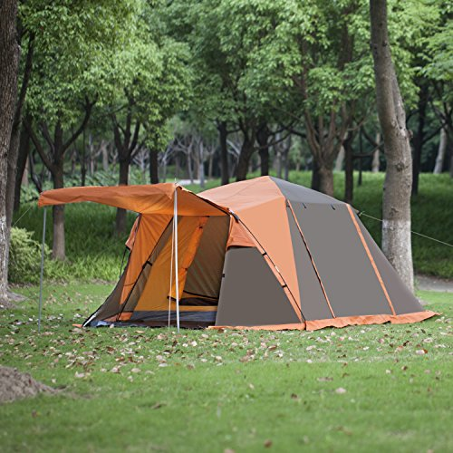 BELLAMORE GIFT Zelt Familienzelt Tunnelzelt Campingzelt für 4 Personen Wassersäule: 3000 mm (Orange)