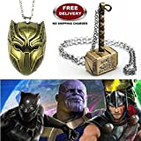 (2 Pc AVENGERS SET) BLACK PANTHER TRENDY GOLD COLOUR & THOR HAMMER GOLD COLOUR IMPORTED METAL PENDANTS WITH CHAIN. LADY HAWK DESIGNER SERIES 2018. ❤ ALSO CHECK FOR LATEST ARRIVALS - NOW ON SALE IN AMAZON - RINGS - KEYCHAINS - NECKLACE - BRACELE