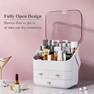 Makeup Organizer Large Acrylic Box Cosmetics Storage Display Holder with Drawers Portable Handle Fully Open Waterproof Dustp