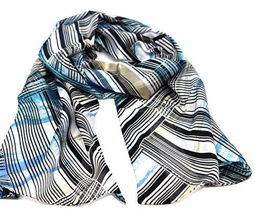 Striessnig Wien – Damen Schaltuch blau, Schal mit Streifen Muster, modisch aktuelles Halstuch, ca. 36 x 160 cm (Diagonal-streifen-schal)