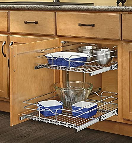 Rev-A-Shelf - 5WB2-1222-CR - 12 in. W x 22 in. D Base Cabinet Pull-Out Chrome 2-Tier Wire Basket by Rev-A-Shelf