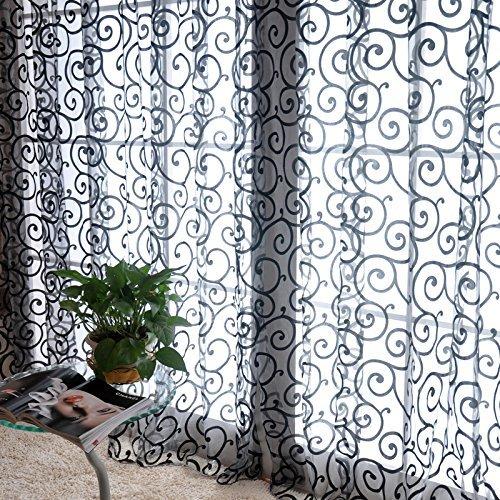 M-g-x fresh tulle floreale porta sciarpa del voile mantovane copre le tende di finestra pura, include unica finestra di screening, che non includono le tende bianca size one size (black)