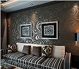 QIHANG Moderne Luxus Abstrakte Kurve 3d Tapete Rolle Beflockung für Striped Schwarz Braun Farbe 0.7m * 8.4m = 5.88