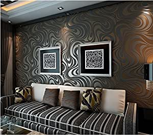 qihang moderne luxus abstrakte kurve 3d tapete rolle beflockung f r striped schwarz braun farbe. Black Bedroom Furniture Sets. Home Design Ideas