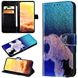 Robinsoni Case Compatible with Huawei Honor 9X Phone Case Wallet Leather Light Reflecting Mirror Case Kickstand Notebook Cover Flip Stand Book Style Case Silicone Case Colorful Animal Case Leopard
