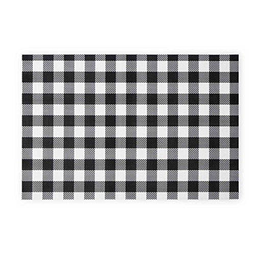 Black Velvet Studio Set 2 Sets de Table Vichy Plastique, Color Noir Blanc. Le Style scandinave et Provençale 30x45 cm.
