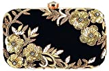 Tooba Handicraft Embroidered Velvet Box Clutch Women's Bag Purse (Black)