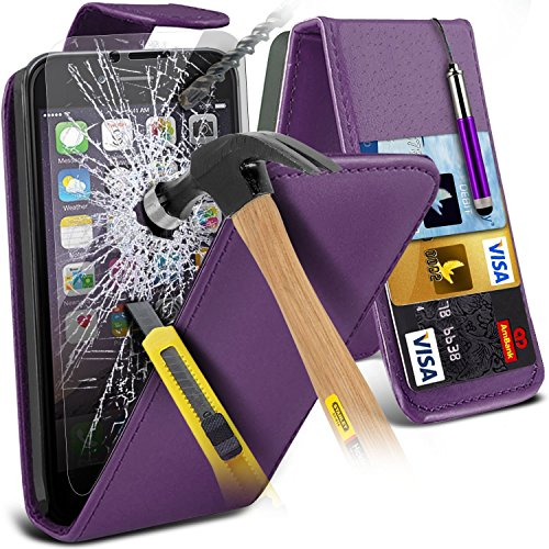 i-Tronixs ( Red ) <b>     Le cas Apple iPhone 6S housse étui     </b>     case étui Premium Quality S Line Wave Gel Case Skin Cover With LCD Tempered Glass Screen Protector Guard, Polishing Cloth & Mini Retractabl Leather Flip + Glass ( Purple )
