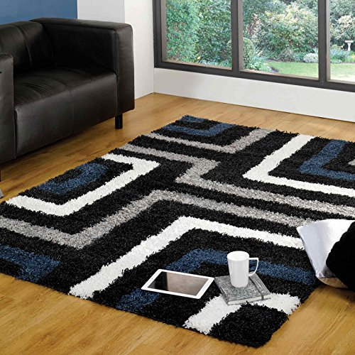 Flair Rugs Nordic Tides Shaggy Rug, Blue/Grey, 160 x 230 Cm