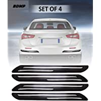 BDMP Car Bumper Protector Guard with Double Chrome Strip for Car 4Pcs - Black (for All Cars)