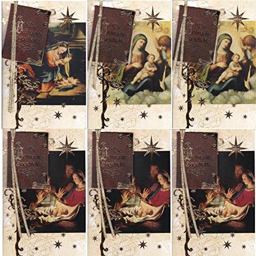 6 Edle Grußkarten, Weihnachtsgeschichte, reduziert! - Susy Card