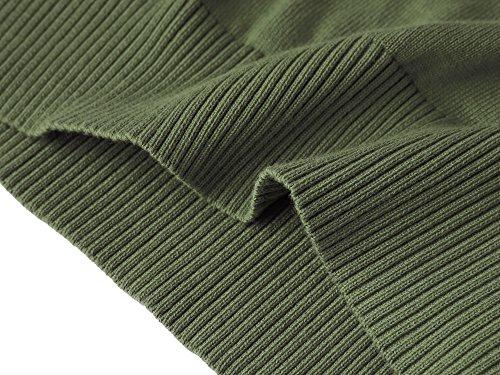 Mocotono Herren Strick Weste Einfarbig Strickweste mit V-Ausschnitt Grün
