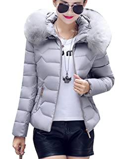 c715e22e22186e DianShaoA Damen Winter Jacke Parka Mantel Einfarbig Warm Steppmantel Mit Kapuze  Slim Fit
