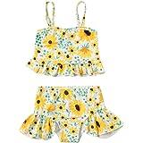 Zrom Swimsuit for Girls,0-4 Years Baby Kids Girls Bow Ruffle Print Straps Swimsuit Tops Shorts Swim Set