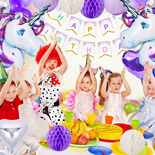 Unicorn Party Supplies 40 Pack Birthday Banner Decorations For Girls With 2 Huge