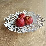 Truly Minka Metall-Obstschale mit Blumenmuster, Weiß oder Schwarz Weiß
