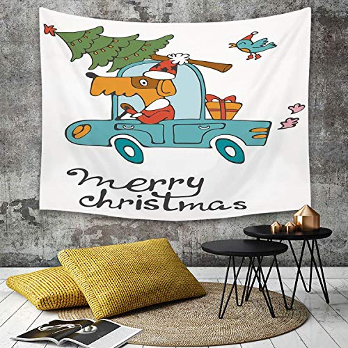 Santa Blue Kostüm - Tapestry, Wall Hanging, Weihnachten, Blue Vintage Car Dog fahren mit Santa Kostüm Cute Bird Tree und Geschenk v,wall hanging wall decor, Bed Sheet, Comforter Picnic Beach Sheet home décor 150 x 200 cm