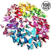Foonii® 108 Pezzi farfalle 3D adesivi per pareti vari colori decorazione casa stickers murali (12 Pezzi Rosso/Blu/Giallo/Verde/Rosa/Colore/Bianca/Realistico/Viola)