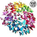 Foonii® 108 PCS 3D Schmetterlinge Wanddeko Aufkleber Abziehbilder,Kunststoff Schmetterling Dekorationen (12 Blau, 12 Farbe, 12 Grün, 12 Gelb, 12 Rosa, 12 Rot, 12 Weiß, 12 Lebensecht, 12 Lila)