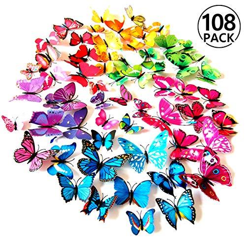 Foonii® 108 PCS 3D Schmetterlinge Wanddeko Aufkleber Abziehbilder,Kunststoff Schmetterling Dekorationen (12 Blau, 12 Farbe, 12 Grün, 12 Gelb, 12 Rosa, 12 Rot, 12 Weiß, 12 Lebensecht, 12 Lila) (Wand Papier Dekoration 3d)