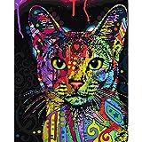 TZAMLI Rahmenlose Abstrakte Bunte Katze Tiere DIY Malen Nach Zahlen Handgemaltes Ölgemälde Für Wandkunst Bild Home Dekoration (40x50CM)