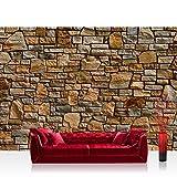 Fototapete Stein - ALLE STEINMOTIVE auf einen Blick ! Vlies PREMIUM PLUS - 350x245 cm - ROCKY STONE WALL - BROWN - Steinwand Steine Wand - no. 155