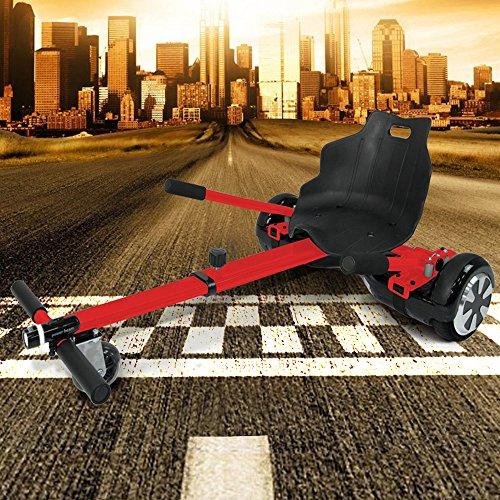 """Hoverkart mit Beleuchtung für alle Hoverboards und Self Balance Scooter (6,5\"""" / 8.0\"""" / 10\"""") GoKart verstellbar Hoverseat (Rot)"""
