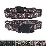 AIDIYA Hundehalsband Klassisch Einzigartiges Design Basic Polyester Nylon Hundehalsband Langlebig Das Halsband Hundehalsband hunter (L, Blumen Schädel)