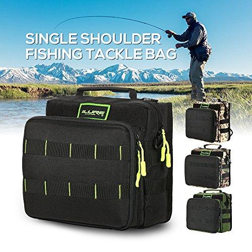 Lixada Borse di Pesca Pesca Tackle Bag Zaino o Crossbody Messenger Borse per il Campeggio Trekking nero