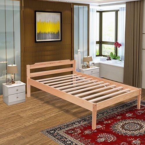 Costway Wooden Single Bed Frame 3ft Real Pine Modern Design Home Bedroom Furniture