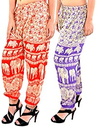 Printed Rajasthani Cotton Afghani Trouser Harem Pants (Combo Pack Of 2 Pcs) For Unisex With Elastic Waist Band - B077SJM9RR