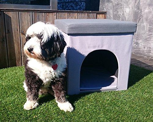 Hundehöhle und Hocker grau, Tierhöhle, Sitzhocker - 2