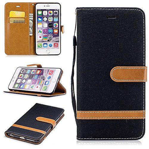Ooboom® iPhone 5SE Hülle Stilvoll Flip PU Leder Handy Tasche Case Cover Schutzhülle Wallet Brieftasche Ständer für iPhone 5SE - Braun Schwarz