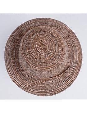LVLIDAN Sombrero para el sol del verano Lady Anti-Sol Playa sombrero de paja plegable marrón